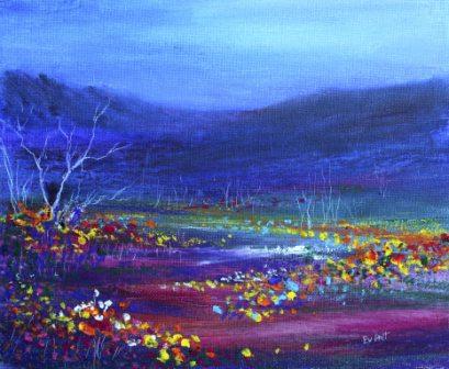 Oil pastel painting: Field of flowers
