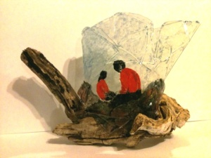 glass sculpture with sumi E figures