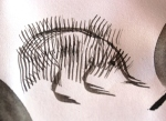 using the rake brush can create echidna spikes. Not really Suumi e but all about exploring brushmarks