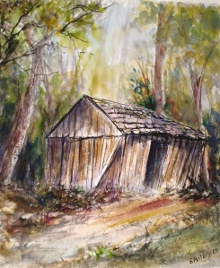ink and wash… old hut Arm River Tasmania