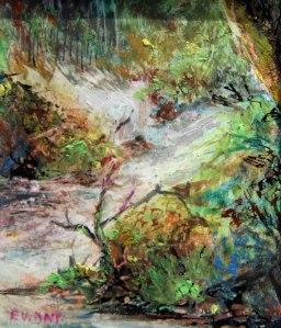 Forest stream oil pastel miniature