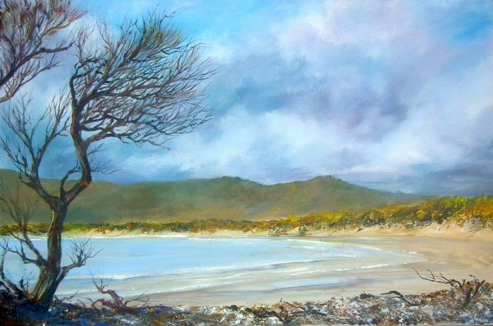 Bakers Beach painting finished and West Point, Burnie
