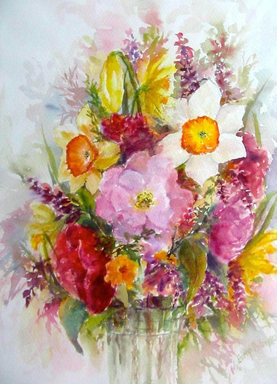 Spring evantart for Spring flowers watercolor