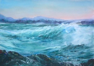 """Whipped Sea"" West Point, Burnie, Tasmania Acrylic on canvas paper"