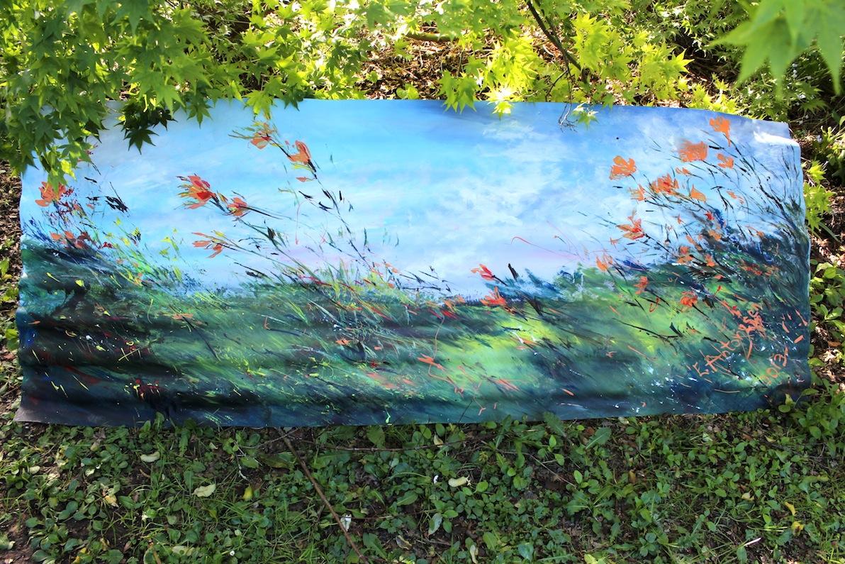 Garden Art painting on corrugated iron EvAntArt