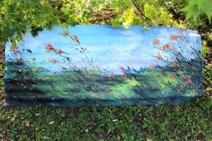 Garden Art, On the Wild Side, painted on corrugated iron