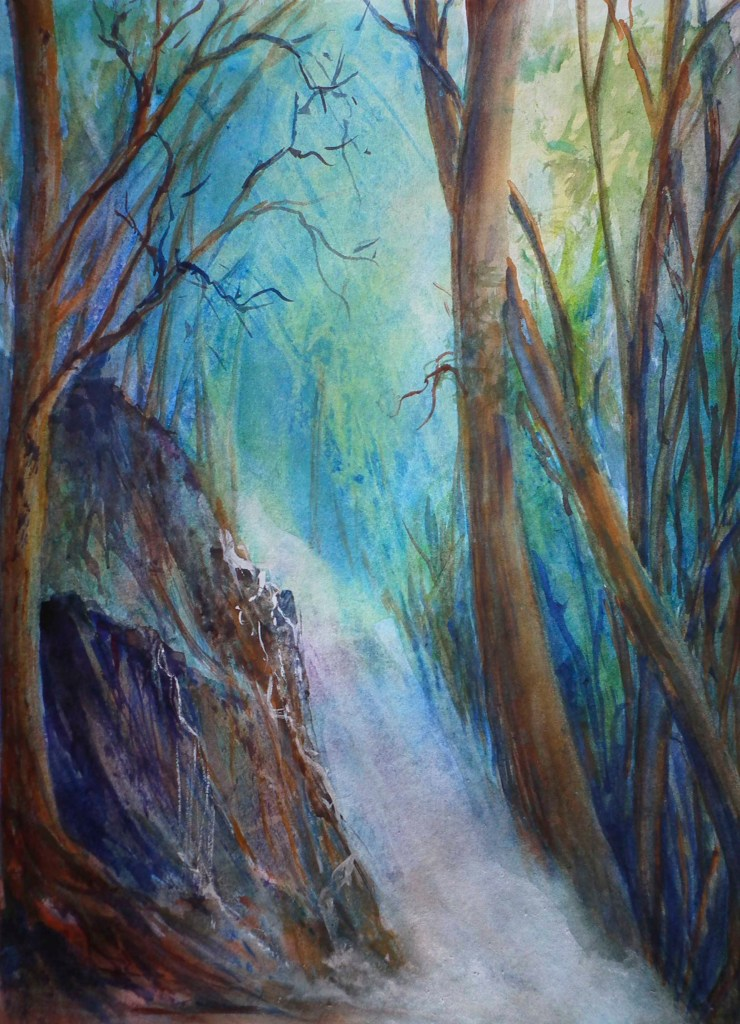 Forest Light, watercolour, sOLD