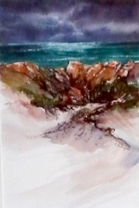 West Coast Dunes, watercolour and Ink $200