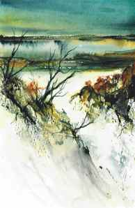Coastal Landscape from the imagination Watercolour and Sumi Ink SOLD