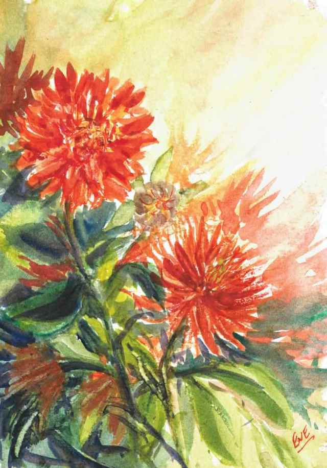 day 4 watercolour card Dahlia painted from life