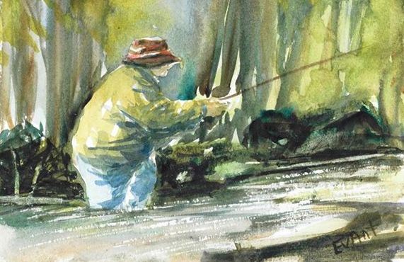 Day 1, watercolour card Fly fishing from a photo reference