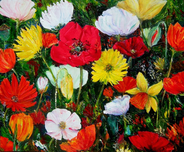 "Acrylic on canvas painted with a palette knife.  ""Not all Tall Poppies"" Material Girl 2014 Finalist"