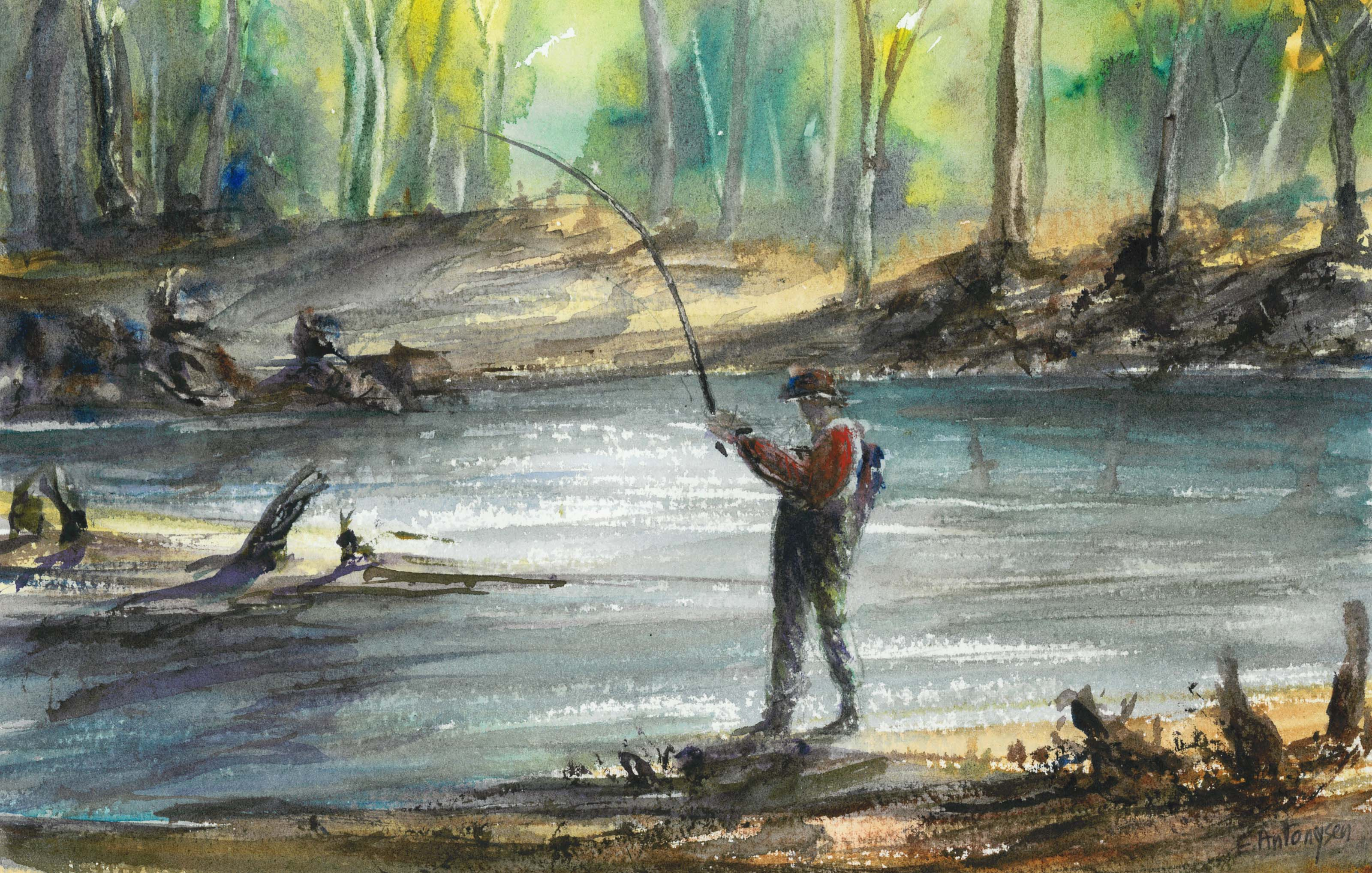 fly fisherman drawing - photo #44