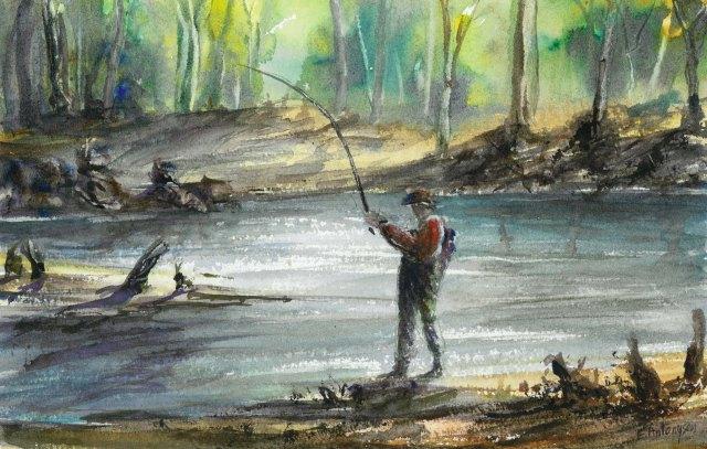 Fly Fishing, watercolour A popular recreation in Tasmania