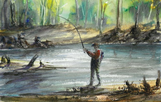 Fly Fishing, watercolour A popular recreation in Tasmania