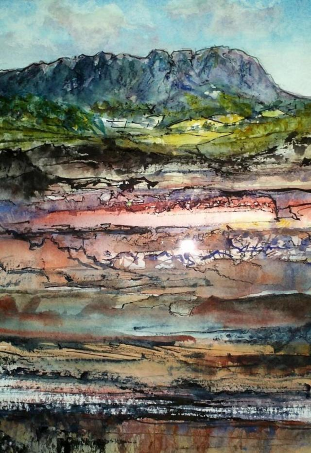 Geology and art Watercolour and Ink Sheffield, Tasmania
