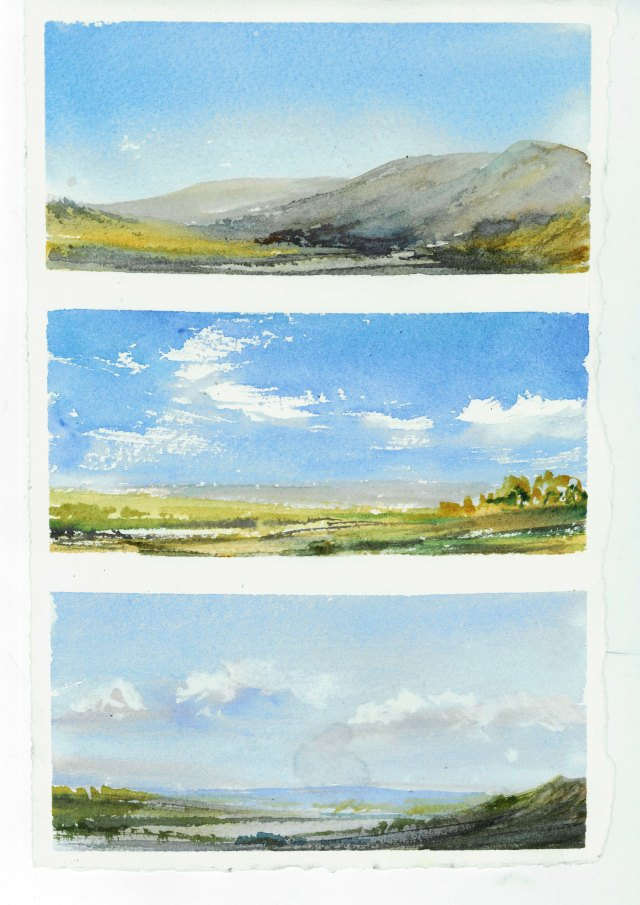 painting simple skies in watercolour