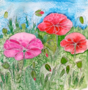 Colourful and light, poppies are, I think, my favourite flower to paint on silk.