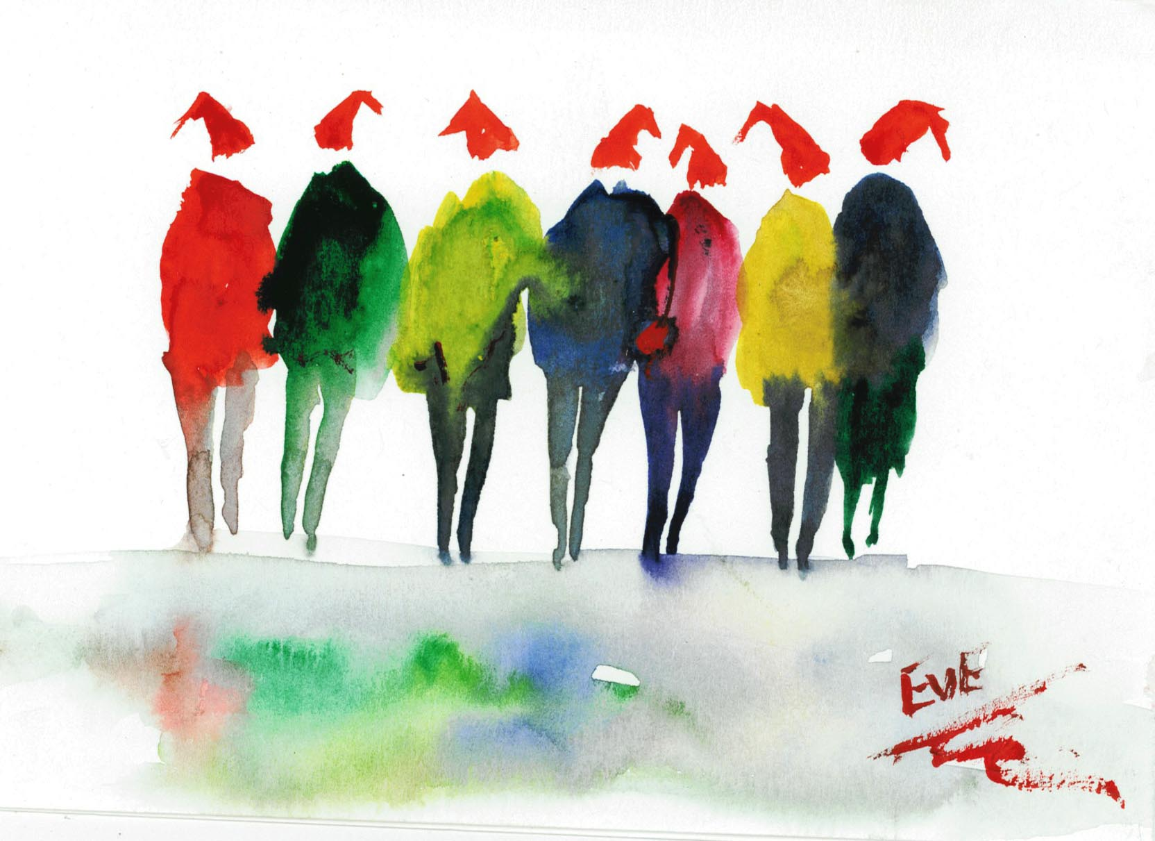 Fun Christmas cards in Watercolour « EvAntArt