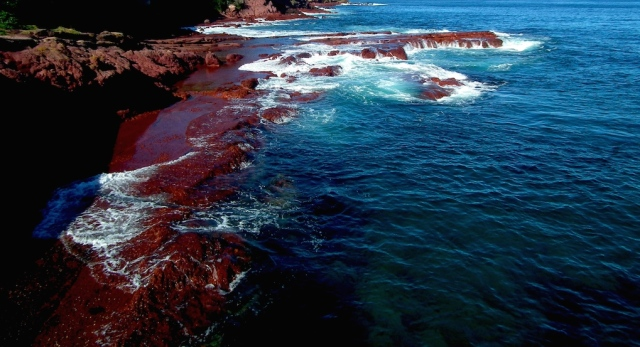 """blood red rocks"", indigo blue sea, and a 'scribble"" of white"
