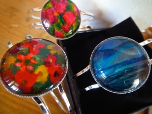 encaustic bangle trio