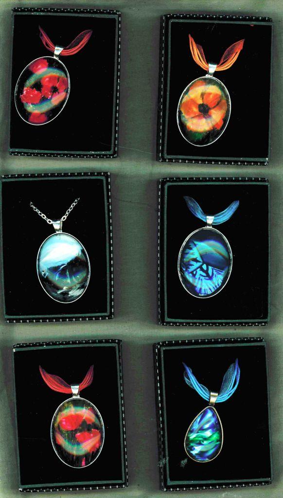 Encaustic art original wax paintings in pendant settings
