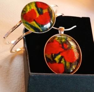 Red Tulip pendant and bangle set. Original paintings. Encaustic art as wearable art.