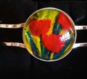 Hinge opening bracelet. Fit up to 20cm wrist. Original encaustic painting in silver setting with clear glass dome cabochon protecting art work.