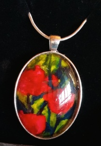 "Encaustic art pendant. Original painting. ""Red Tulips"". Silver setting. Sterling silver snake chain. Oval. 50x30mm. Clear glass cabochon."