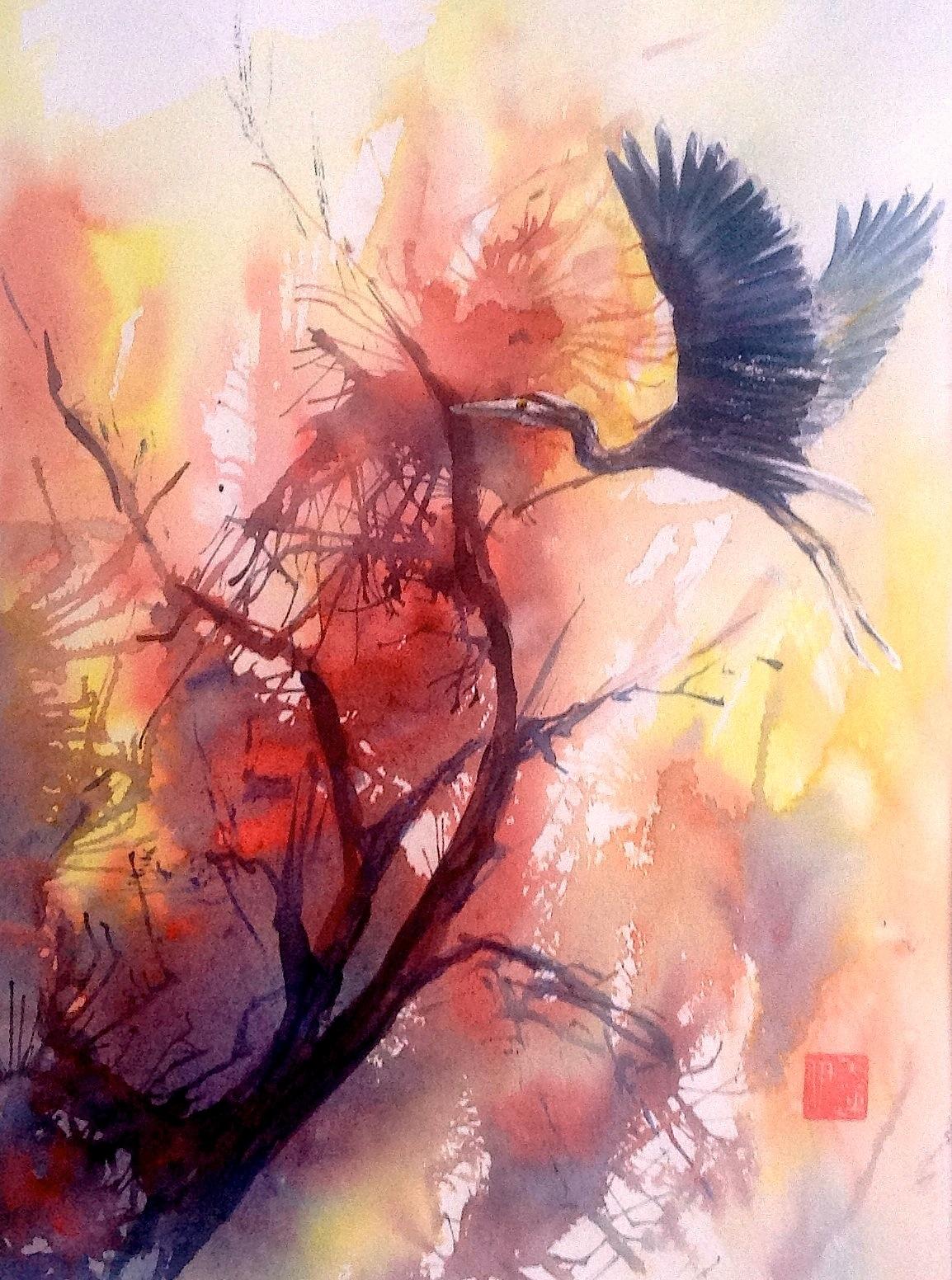 Destination Unknown, watercolour, Evelyn Antonysen