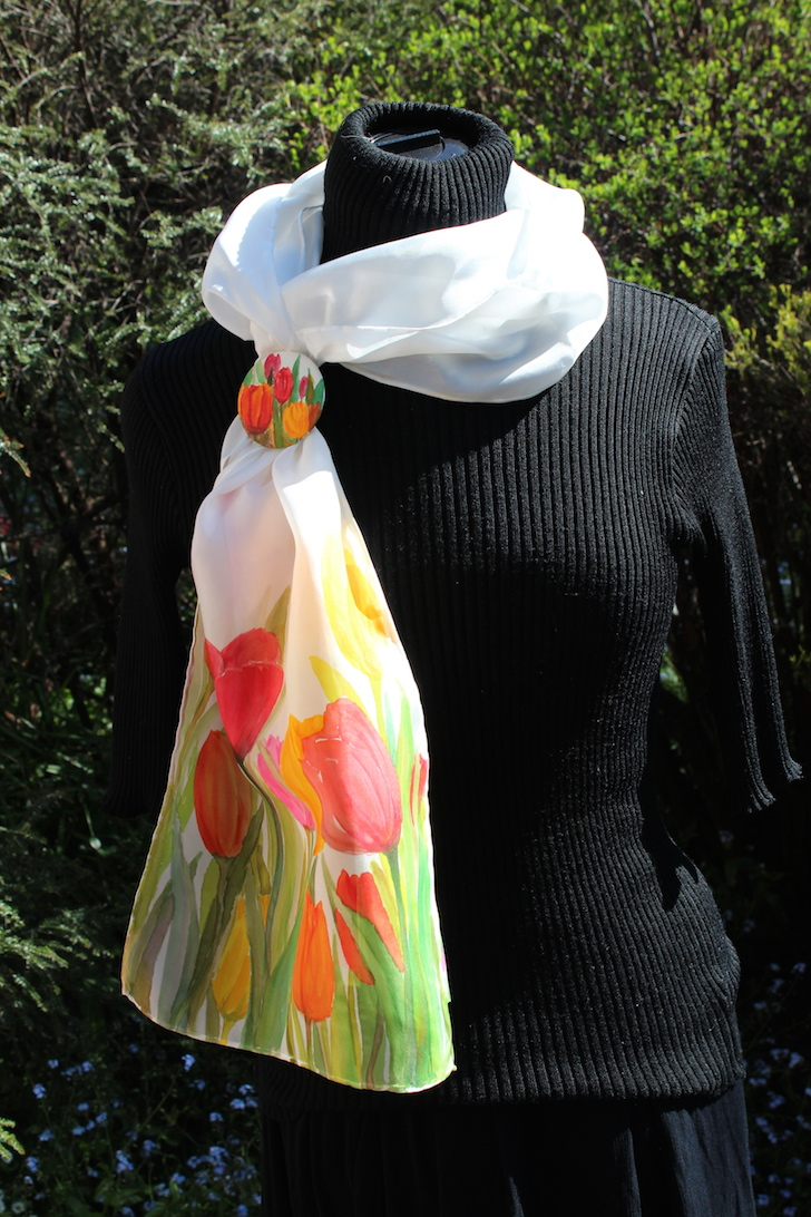 Tulip scarf and matching scarf brooch/pin. painted for the Tulip Festival in NW Tasmania (Wynyard) 2013