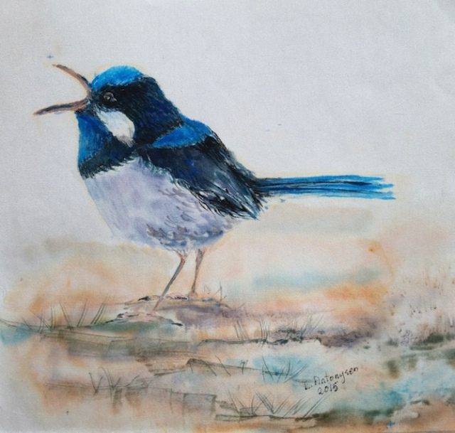 blue wren on silk, silk anniversary  copy