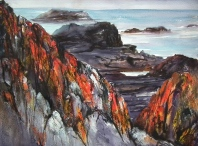 The lichen on the rocks is amazing. this is a mm work using oil resists with watercolour and ink on rough paper to refelct the coarse textures of the subject. SOLD