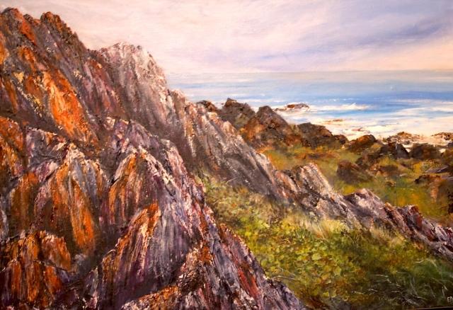 Acrylic on Canvas, Sarah Anne Rocks, Tarkine Coast, Tasmania