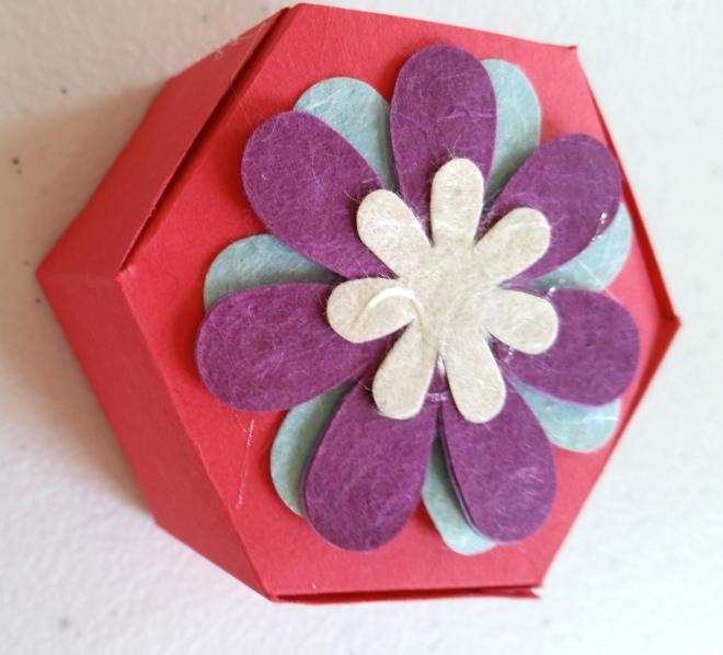 hexagonal box showing scrapbooking influence