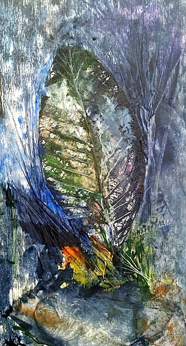 forest, encaustic collage and embedded leaf_resized