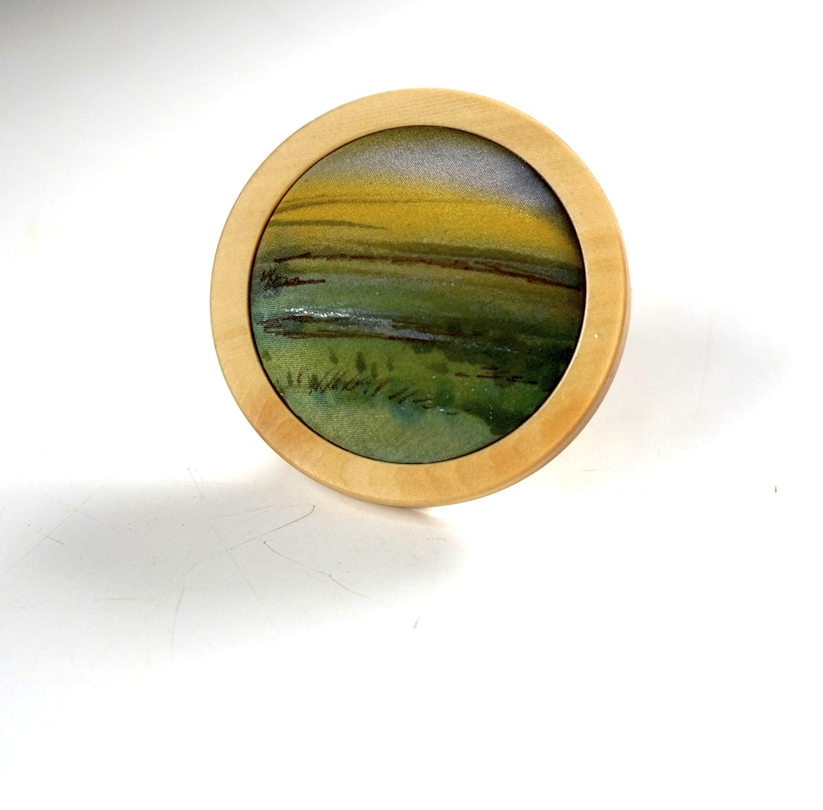 silk-painting-green-pastures-in-huon-pine-frame