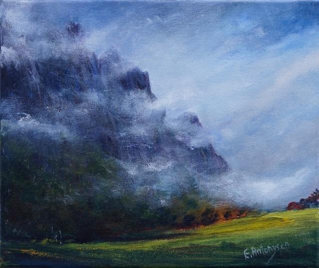 Breaking mist, Mt Roland