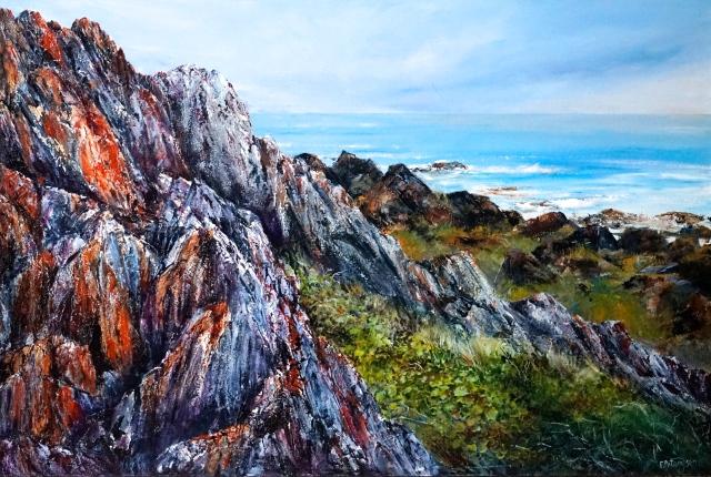 Geo-artscape, Sarah Anne Rocks, Tarkine Coast. Acrylic JPG